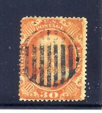 US Stamps - #38 - USED - 30 cent Franklin Issue - CV $425 - grid cancel