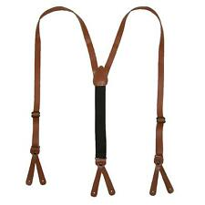 New CTM Coated Leather Button-End 3/4 Inch Suspenders