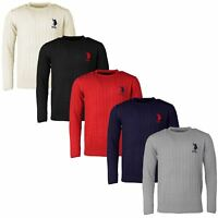 Mens Long Sleeve Cableknit Jumper Crew Neck US Polo Assn Branded Top   Big Pony