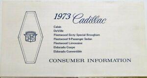 1973 Cadillac Calais DeVille Fleetwoood Eldorado Consumer Info Sheet Original