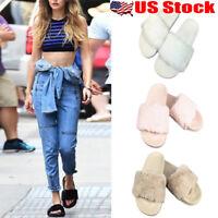 Womens Summer Slip On Fluffy Fur Flats Mule Sandals Slippers Sliders Flats Shoes