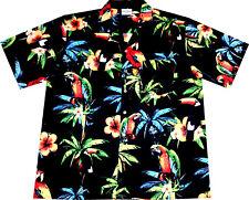 Hawaii Hemd Hawaiian Parrots S - 6XL 100% Baumwolle Hawaiihemd Hawaihemd schwarz