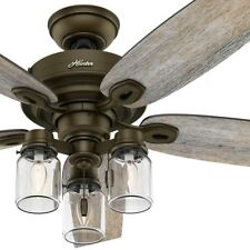 "Hunter 52"" Regal Bronze Ceiling Fan with 3-Lights and Mason-Jar Glass Shades"