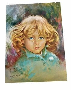 Vintage CRYING GIRL PRINT Carlos Parisi Crying Children Art Series 70's Décor