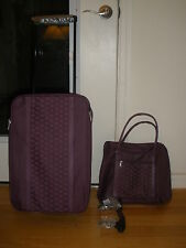 NEW 2PC PURPLE TRAVEL/OVERNITE SUITCASE/BAG SET WHEELED POCKETS SCHOOL WORK PLAY