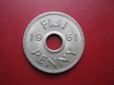 Fiji 1961 Penny Regina Elisabetta II moneta in buona qualità