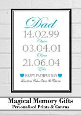 dad daddy grandad fathers day gift our story dates personalised print gift a4