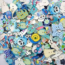 50pcs Wood Cartoon Flower Buttons Craft-Scrapbook-Embellish-Sew Cards blue Theme