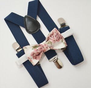 Kids Boys Mens Navy Suspenders & Vintage Pink Floral Bow tie BABY - ADULT SET