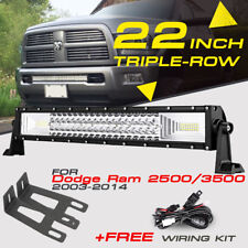 "TRI-ROW 22"" 1296W CREE LED Work Light Bar Mount Brackets For Dodge Ram 2500 3500"