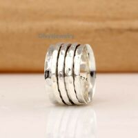 Solid 925 Sterling Silver Spinner Ring Meditation Ring Statement Ring Size Ra34