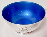 .Auth. Towle Sterling Silver Something Blue Enameled Bowl 480g - Stunning