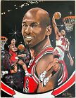MICHAEL JORDAN ORIGINAL CHICAGO BULLS 36X48 OIL PAINTING SIGNED BY KEVIN CHARLES
