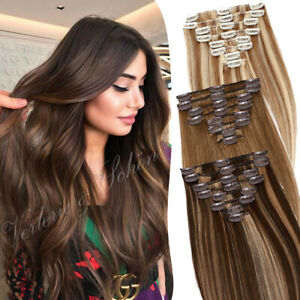8pcs 18Clips Clip in Real Remy Human hair Extensions weft Full Head Blonde ombre