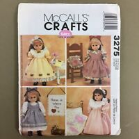"""18"""" doll clothes and craft projects Gotz McCalls 3275 sewing pattern uncut"""