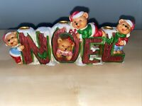 NOEL BEAR 3 CANDLE HOLDER CHRISTMAS TEDDY TABLE MANTLE SHELF DISPLAY