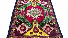 "Antique vintage Turkish handmade hand-knotted thick rug 63""x 83"" pure wool  #313"