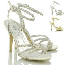 NUEVO de Mujer Tacones Diamante Fiesta Novia Boda Sandalias Tiras Zapatos 3-8