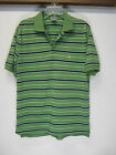 vtg Men's Brooks Brothers 346 Green Blue Striped Short Sleeve Polo Shirt sz M