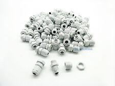 100 Pcs PG7 White Nylon Waterproof Cable Gland 3-6.5mm Dia. w/ Lock-Nut & Gasket