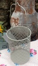 shabby chic beige metal lace tea-light storm lantern candle holder