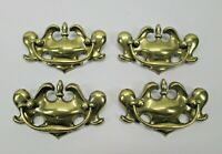 Vintage Lot of 4 Drawer Pulls Handles B1080 Antique Brass Cupboard Cabinet