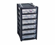 Shallow 6 Drawers A4 Drawer Paper Storage Unit Office Bedroom Cabinet Plastic