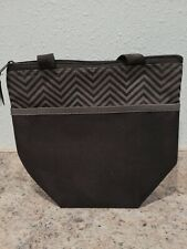 Pampered Chef On-the-Go Insulated Lunch Tote Black/Gray Chevron Euc #1273