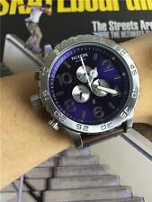 51-30 Chrono Blue Silver Leather Men's Wrist Watch