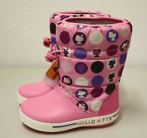 Kinder Winter Stiefel Boots Gummistiefel Crocband Crocs Hello Kitty Pink Neu