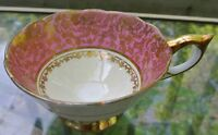 Vintage Royal Stafford Footed Pedestal Scalloped Cup Pink, White & Gold Chintz