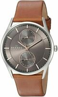 Skagen Men's 40mm Brown Calfskin Band Steel Case Quartz Analog Watch SKW6086