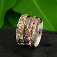 925 Sterling Silver Spinner Ring Wide Band Meditation Statement Jewelry A494