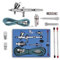 Dual Action Air Brush 3 Nozzles 3 Needles Cup Airbrush Spray Gun Make Up Kit #