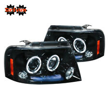 04-08 Ford F150 Harley Lighting Smoked Projector Halo DRL LED Headlights Mark LT