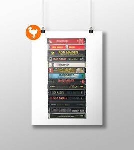 Iron Maiden Poster: Cassette Print, Iron Maiden Albums, Fan, Gift, Art