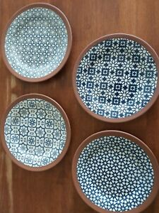 Blue and white Plates x 4.