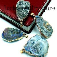 Wrapped Rainbow Titanium Crystal Agate Druzy Quartz Geode Pendant Bead W070103