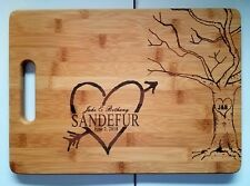 Personalized Bamboo Cutting Board Mr. Mrs. Wedding Gift rustic tree heart 13 3/4