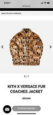 KITH x VERSACE FUR COACHES JACKET SIZE 46 SMALL LIMITED 100% AUTHENTIC