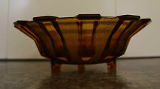 Large Brown Glass Vintage Three Footed Serving / Fruit Trifle Bowl app 10in wide