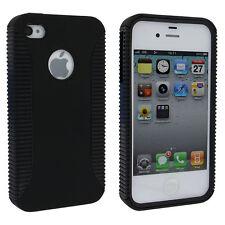 Black Hybrid Hard Cover w/ Black TPU Inner Case w/ Logo Cutout for iPhone 4 / 4S