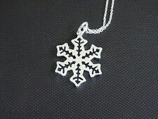 snow flake charm pendant necklace 925 silver