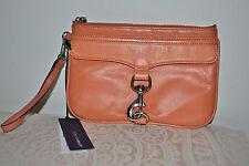 NWT $125 Rebecca Minkoff Skinny MAC Wristlet Clutch Bag Case Coral Tan Leather