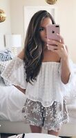 Womens ASTR White Lace Cold Shoulder Crop Size Small New Short Sleeve 3074