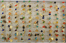 50pcs New Job Lots Mixed Style Cat's-Eye Stone Ring Alloy Adjustable Rings EH467