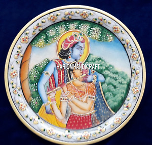 "12"" Natural Painting on Marble Indien Lord on Stone Handicraft Plate Items H4093"