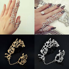 Vintage Retro Punk Rock Gothic Gold Silver Double Full Finger Knuckle Armor Ring