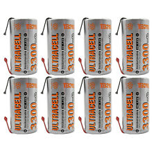 8PCS 3300mAh Sub C 1.2V Ni-MH Rechargeable Battery Tabs Power Tools RC UltraCell