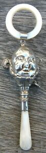 Sterling Silver & Mother of Pearl Baby's Rattle & Teether: Humpty Dumpty. c.1938